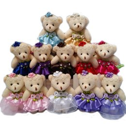 Wholesale Bear Stuffing - Wholesale 10PCS lot 12CM lovely girls plush toy doll stuff&plush mini bouquets bear toy for promotional gift