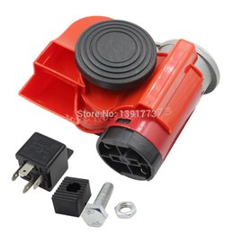 Wholesale New Horn For Car - New 12V 136DB Red Snail Compact Air Horn Relay For Car Truck Motorcycle Boat Yacht Free Shipping