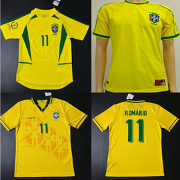 Wholesale Retro Shorts Men - 1994 1998 2002 Brazil home jerseys throwback Rivaldo Brasil retro classic shirts Carlos Romario Ronaldo Ronaldinho Jersey camisa de futebol