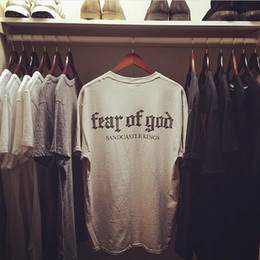Wholesale Red Justin Bieber - Fear Of God T Shirt Men Women Cotton FOG Justin Bieber Clothes Fearofgod t-shirts Nomad Top Tees Fashion Fear Of God T Shirt