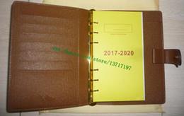 2019 rosa scheckheft Brown Mono Canvas Coated Echte Kalbsleder MEDIUM RING AGENDA COVER R20105 Kommt mit 75 Seiten Minen