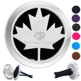 Rotondo Argento Foglia D'acero (38mm) Magnete Diffusore Auto aromaterapia Medaglione Locket Pads Olio Essenziale 316 In Acciaio Inox Auto Diffusore Medaglioni da