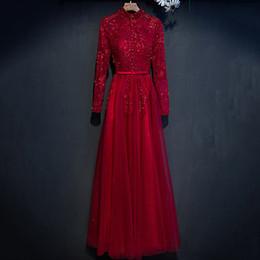 Модные красные длинные платья онлайн-2017 Новое Прибытие с длинным рукавом необычные красный вышивка вечерние платья bodycon старинные Черепаха шеи женский красный ковер взлетно-посадочной полосы платья