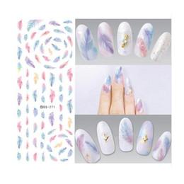 Wholesale Fingernail Decals Stickers - Water Transfer Nails Art Sticker Harajuku Rainbow Feathers Nail Wraps Sticker Watermark Fingernails Decals free shipping