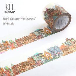 Wholesale Pattern Tape - Wholesale- 2016 Kinbor Japanese Washi Tape Buildings Pattern DIY Deco Adhesive Tape Waterproof Writable Durable Masking Tapes Label Sticker