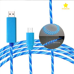 Wholesale Visible Led Flashing Usb Charging - 0.8M Visible Luminous LED Light Up Flowing Micro USB Lighting Charging Cable Running Flash Noodle Shaped Design for i7 Android.