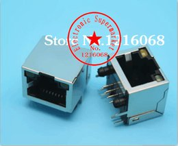 Wholesale Rj45 Pcb - Wholesale- Free shipping 10pcs lot RJ 45 Socket 12Pin PCB Mounting Adapter With LED RJ45 Connector For Ethernet Network Data Transfer