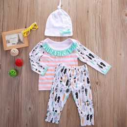 Wholesale Toddler Striped Shirt - Newborn BABY Clothes Kids Girls Clothing Set Autumn Fall Pajamas Long Sleeve Shirt Tops Legging Pants Hat Striped Playsuit Toddler Outfit
