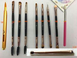 Wholesale Telescopic Lip Brush - 10 style make up brush Telescopic lipbrush Double make up brush for fresh jump Blush,eyeshadow,Eyebrow,lip mix color