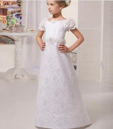 Wholesale Tailored Made Lace Dress - 2017 New Arrival Appliques Flower Girl Dress Tailored Beading Sequined Sashes Short Sleeve Girls First Communion Dresses