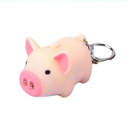 flashlight cute Coupons - cute pig led keychains flashlight sound rings Creative kids toys pig cartoon sound light keychains child gift 3 colors