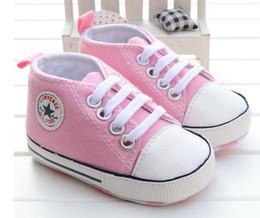 Wholesale Girls Prewalker Shoes - New Canvas sport baby shoes Newborn Boys Girls First Walkers Infantil Toddler Soft sole Prewalker Sneakers for 0-18M