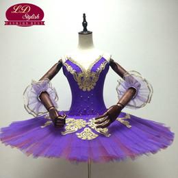 Wholesale Gold Embroidered Skirt - Women Purple Gold Professional Ballet Tutus Classical Ballet Stage Performance Dance Tutu Costumes Ballerina Pancake Tutu Skirt LD0011