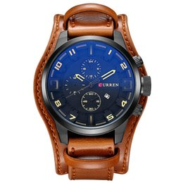 Wholesale Water Curren - Curren Men's Casual Sport Quartz Watch Mens Watches Top Brand Luxury Quartz-Watch Leather Strap Military Watch Wrist Male Clock