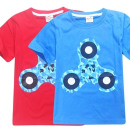 Wholesale england tshirt - fidget spinner T-shirt boys fidget spinner top boy blue red tshirt top tees kids clothing children summer clothes