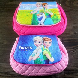 Wholesale Cartoon Deck - Elsa Girls Backpacks New fashion Children PU lattice Messenger bags shoulder Cartoon Double-decked handbag Frozen oval travel package