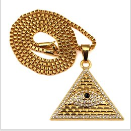 Wholesale Egyptian Pendant Eye Horus - Ancient Egyptian Pyramid Eye Of Horus Pendant Necklace Hip Hop Necklace Cuban Curb Chain Jewelry free shipping