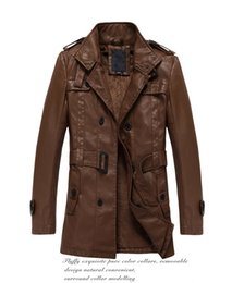 Wholesale Leather Belt Jacket Men - Fall-Hot Brand Men PU leather Jacket with fleece lining motorcycle jacket with belt Turn down collar outdoor man coats M-2XL