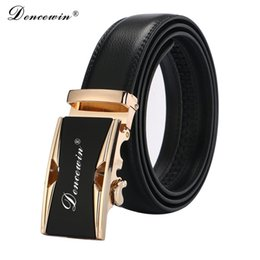 wholesale leather cowboy belts Promo Codes - Wholesale- Free shipping 2017 men's fashion100% Genuine Leather belts for men High quality metal automatic buckle Strap male Jeans cowboy