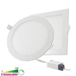 Wholesale Ceiling Light Dimmable Led 12w - Dimmable Round Square LED Panel Lights 6W 9W 12W 15W 18W 21W 30W 4-5-6-7-8-9-12 Inch Recessed LED Ceiling Light