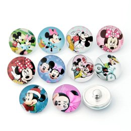 Wholesale Snap Sets Jewelry Wholesale - Wholesale-10pcs lot New 18mm Snaps Button Charm Mouse Mixed Styles Glass Ginger Snap Button Fit Charm Bracelet Jewelry ZB312