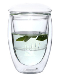 Wholesale Tea Glasses Cup - Tea Cup Heat Resistant Double Layer Glass Crystal Clear Borosilicate With Infuser & Lid,Tea Mug,350ml,450ml