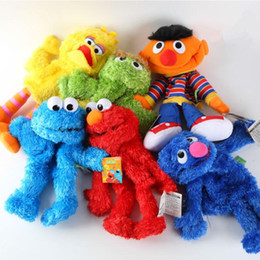 Wholesale Bert Ernie Plush - Wholesale-New Arrival 35cm Sesame Street Elmo BIG BIRD COOKIE BERT ERNIE Stuffed Doll Puppet Cartoon Soft Plush Toy Christmas Gift