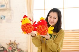 Wholesale Video Arts - 20cm Chick Pendant China Wind Cock Cloth Art Doll Plush Chicken Mini Toy Present For Kids Stuffed Plush Chook Best Gift 2 Colors