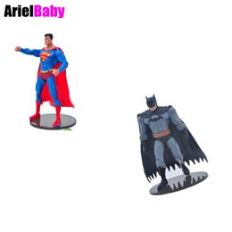 Wholesale Anime Batman Toy - OHMETOY Marvel's The Avengers Superman Batman Universe Heroes Action Figure Toys 18cm With Holder Boy Birthday Gift