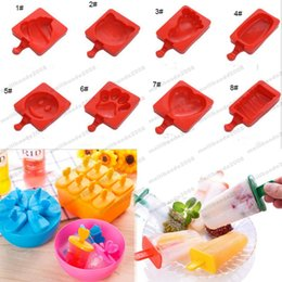 Wholesale Cube Holder - 2017 NEW Cartoon DIY Heart Cat Foot Smile Shape Silicone Ice Cream Mold Popsicle Molds Ice Tray Cube Tools Frozen Popsicle Maker Holder MYY