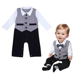 Wholesale Gentleman Photo - Baby boys Little Gentlemen Romper Infants turn-down collar Bow False two-piece romper kids outfits photo costume for 1-2T