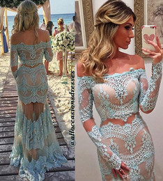 Wholesale Mermaid Prom Dresses Beauty - Two Pieces Lace Prom Dresses 2017 Arabic Off Shoulder Beauty Queen Evening Dress Custom Made Party Gown With Long Sleeves