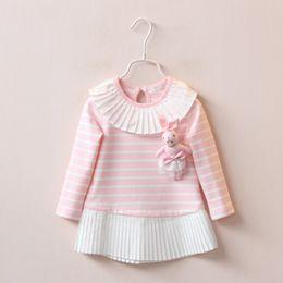 Wholesale Lycra Full Sleeve T Shirt - Children girls Long sleeve dress stripe splicing baby cotton long T-shirt send rabbit doll wholesale