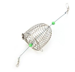 Wholesale Cage Feeders - 1Pcs Stainless Steel Wire Fishing Lure Cage Small Bait Cage Fishing Trap Basket Feeder Holder Fish Bait Lure Fishing Accessories
