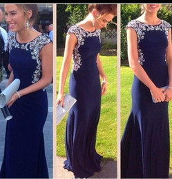 Wholesale Classic Dresses For Womens - 2016 Navy Royal Blue Mermaid Prom Dresses Beaded Special Occasion Formal Gowns Tulle Floor Length Runway Evening Gowns For Womens Cheap