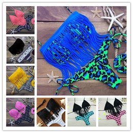 Wholesale Leopard Fringe Bikini - 2017 Summer Newest Summer Fashion Sexy Women Bikini Swimwear Padded Boho Fringe Tassels Real Class 11 Color