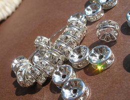 Wholesale Rhinestone Crystal Rondelle Silver Spacer - HOT SALE!50 PCS Silver Plated With Clear Crystal Rondelle Rhinestone Beads Brass Spacer Wholesale Findings Jewelry Supplies in 8mm