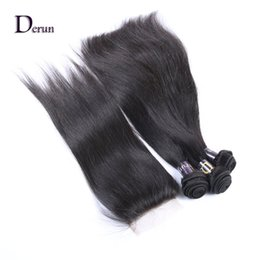 """Wholesale Brazilian Lace Full Head Closure - Free Shipping!Brazilian Human Hair Weft 3 Bundles And Top Lace Closure(4""""x4"""") 1Pcs Straight Natural Color For a Full Head"""