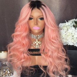 Wholesale Wig Dark Pink Long - Brazilian Hair Wavy 1BTPink Full Lace Human Hair Wigs Glueless Lace Front Human Hair Wigs Ombre Two Tone Color Lace Wig Pink Ombre