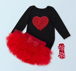 baby tutu romper red UK - baby clothes christmas set infant long sleeve jumpsuit black romper + ruffle tutu skirt red + headbands boutique outfit birthday party sets