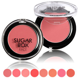 makeup brushes colour Promo Codes - Wholesale-Sugar Box Brand 8 Colours Sweet Peach Blush Face Palette Natural Make Up Blusher Sleek Rouge Cosmetics With Makeup Brushes SB012