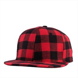Wholesale Tennis Hat Cap - Wholesale- Newest Black Red Plaid Canvas Cotton Adjustable Snapback Caps For Men Women Sports Hats Basketball Baseball Caps High Quality