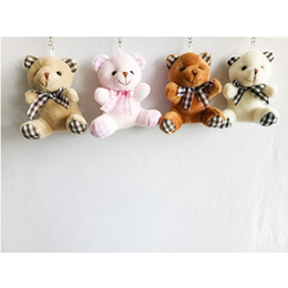 Wholesale Wholesale Wedding Teddy Bears - 9cm Teddy Bear with Plaid Bowknot Cartoon Stuffed Toy Plush Toy Pendant Bag Keychain Car Key Holder for Bag Wedding Christmas Gift