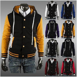Wholesale Varsity Jackets Hoodie - Free shipping Wholesales-8 colors Premium Varsity College Letterman Baseball Jacket Uniform Jersey Hoodie Hoody with cap M L XL XXL