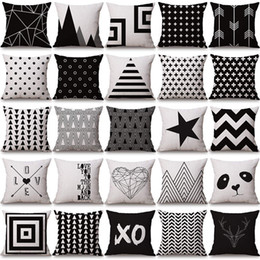 Wholesale Covers For Sofas - halloween Christmas black white pillowcase geometry Cushion covers Cotton linen pillow cover for Sofa bed Nordic Throw Pillow case