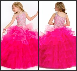 Wholesale Shiny Elegant Dress - Ball Gown Pageant Girls Dresses Tiered Skirt Elegant Sleeveless Crystals Beadings Sequin Bling Prom Shiny Party Gown Free Shipping Sexy