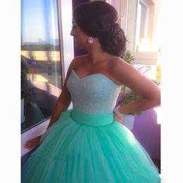 Wholesale Image Hot Bra - 2017 Hot Mint Green Into A long Dress Sequins Beads Sweetheart Bodice Bra Tops Flexible Pipe Under The Skirt.