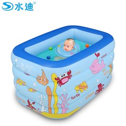 Wholesale Cartoon Baby Swim - Wholesale- Inflatable Pool Portable Cartoon 4layers children splashing ocean balls sand tub baby swimming pool kids bathtub 130x85x70cm