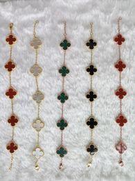 Wholesale Red Bracelet Charms - Korea Clover streaky bracelet S925 sterling silver jewelry hypoallergenic not fade fine silver chain bracelet jewelry