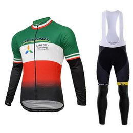 Wholesale Cycling Spring Set - ASTANA 2017 New Men`s Spring Autumn Long Sleeves Cycling Clothing Bib Set Pro Team Ropa Maillot Ciclismo Bike Jersey Clothes